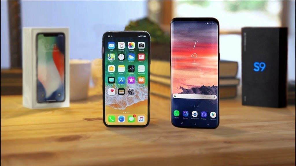 Comparisonof Samsung Galaxy S9 Plus and iPhone X, Samsung Galaxy S9 Plus, iPhone X, Samsung Galaxy S9 Plus and iPhone X