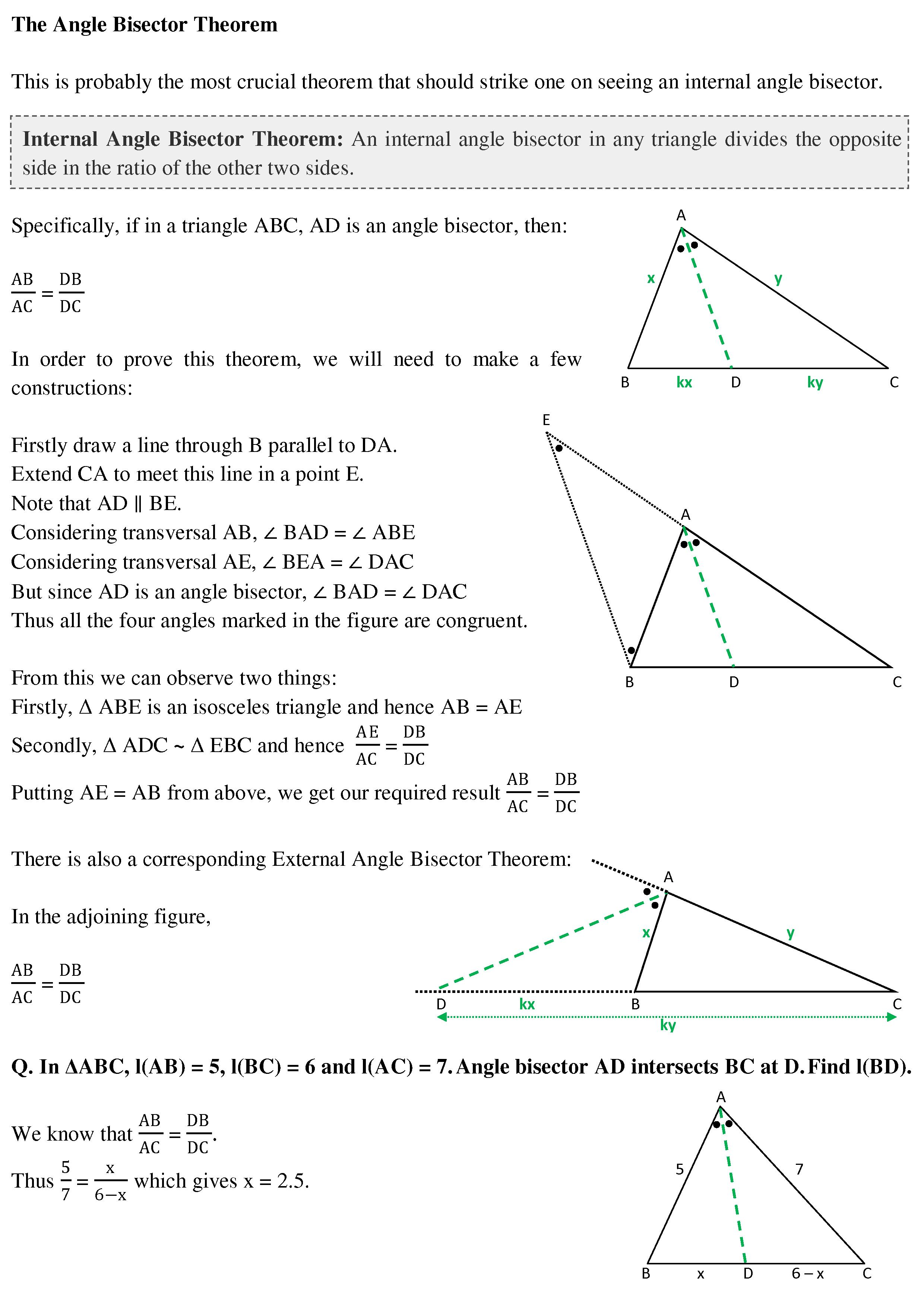 The Angle Bisector Theorem Cat Holics