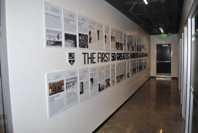 A wall graphic chronology displays the history and the culture of your organization.