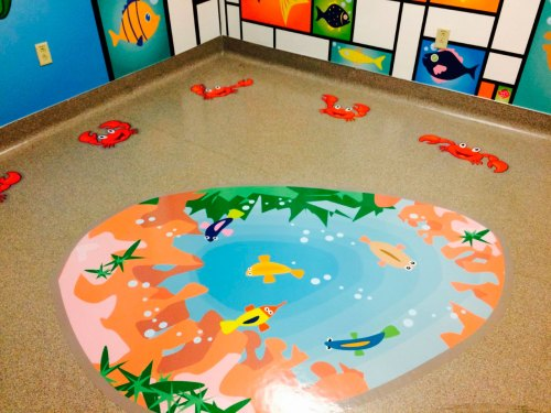 Decorative floor graphics add character to any space.