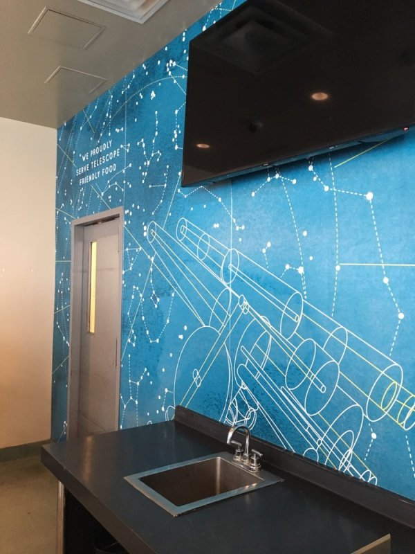 Wall graphics with complex design are the visual equivalent of a fireworks display.