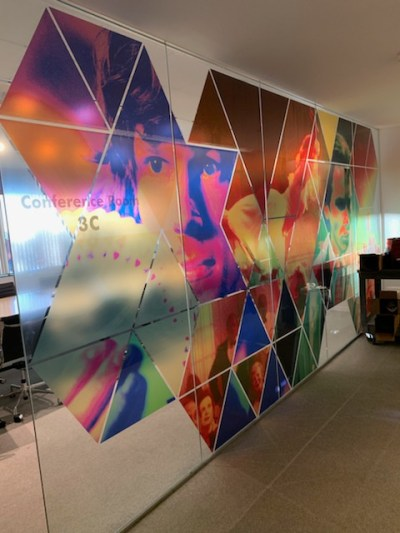 Colorful window graphics are a great way to boost company culture.