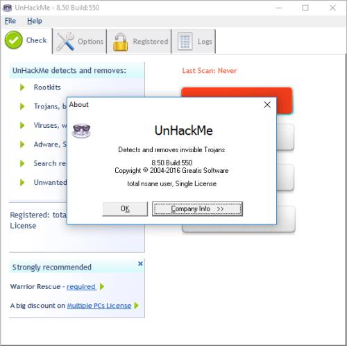 UnHackMe 8.50 Build 550 License Key + Crack Download