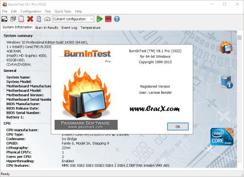 PassMark BurnInTest Pro 8.1 Build 1022 Keygen & Crack Download