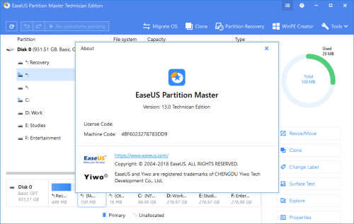 EaseUS Partition Master 13.0 Technician Edition Full Keygen Download