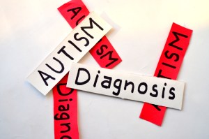 Lots of labels with 'AUTISM' and 'Diagnosis' piled on top of each other.