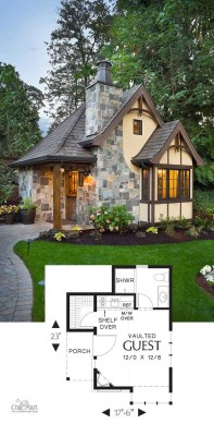 27 Adorable Free Tiny House Floor Plans   Craft Mart Tudor cottage tiny house  Adorable tiny house floor plans for building your  dream home without