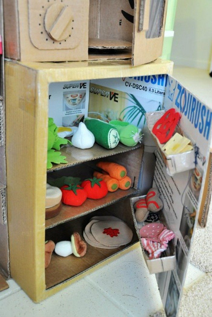 DIY Cardboard Play Kitchen Craft Projects For Every Fan