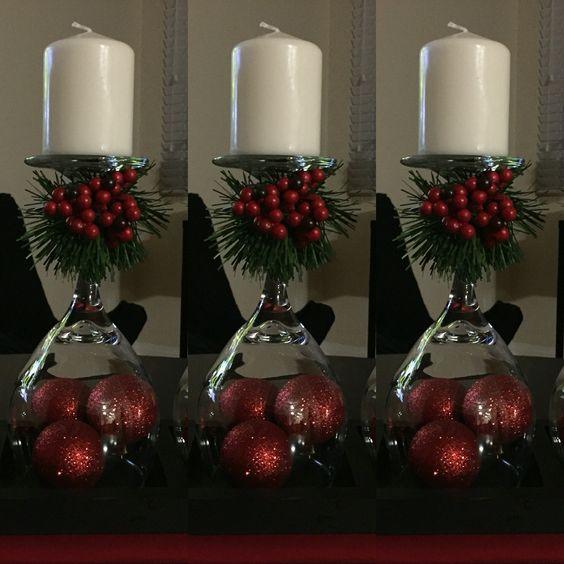 Wine Glass Christmas Centerpiece