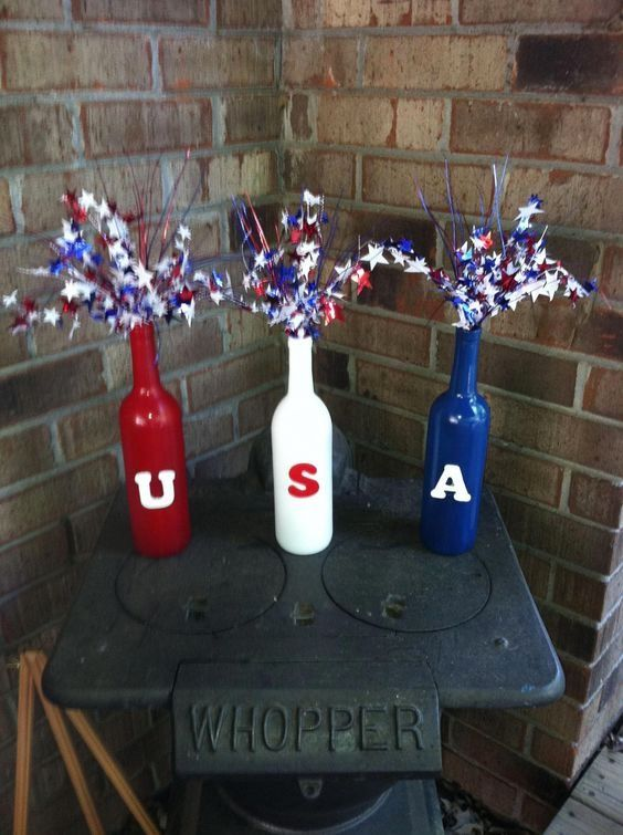 4th of July Wine Bottle Crafts