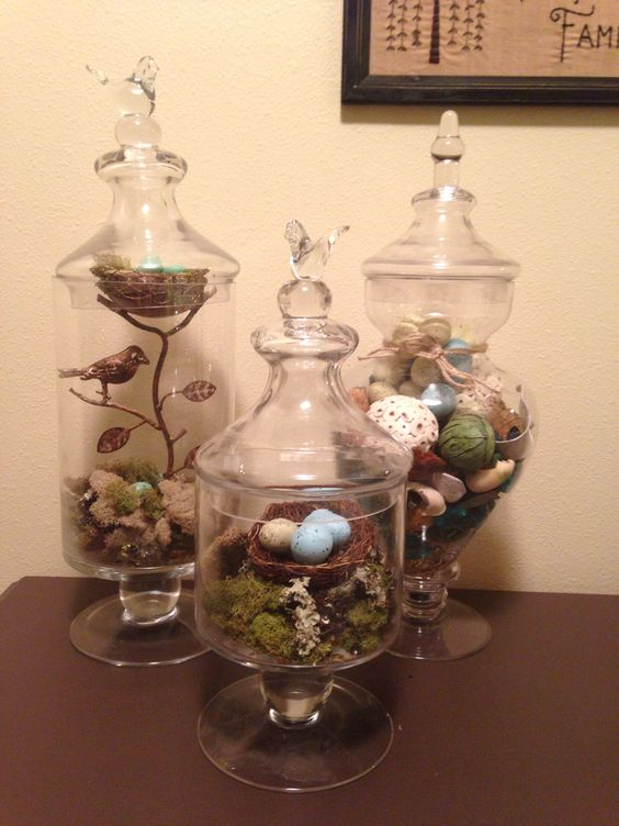 Easter Apothecary Jars #easter #decor #apothecary