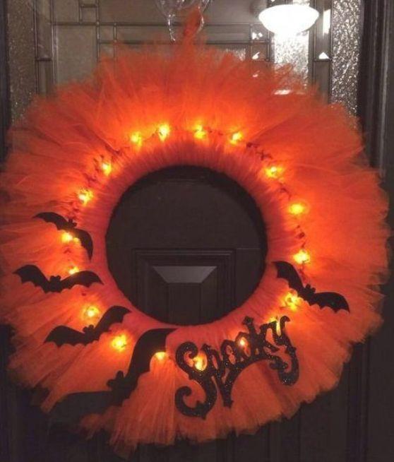 Lighted Halloween Wreath