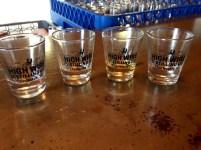 L-R: vodka, silver rum, barrel-aged rum, gin