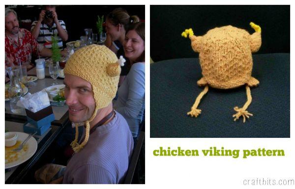 Chicken Viking Hat Knitting Pattern