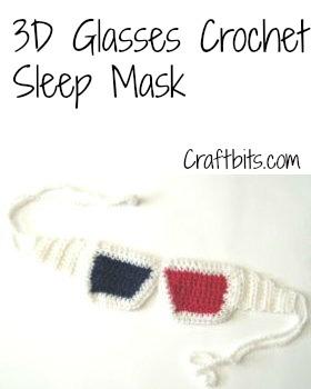 3D Glasses Sleep Mask Crochet Pattern