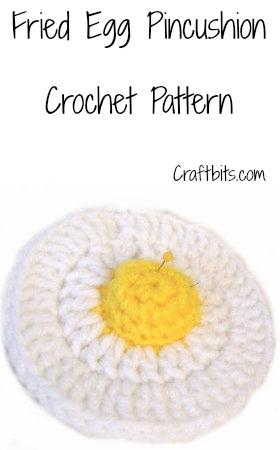 Crochet PinCushion That Looks Like A Fried Egg