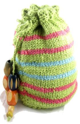 Knitted Drawstring Wrist Purse - Knitting Patterns - craftbits.com
