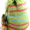 Knitted drawstring bag