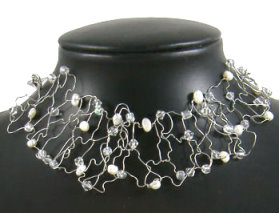 Pearl & AB Twisted Wire Necklace