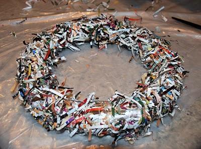 Wreath Made Of Shredded Magazine