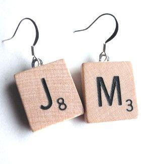 Recycled Scrabble Tile Earrings