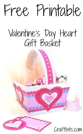 Free Valentine Printable: Basket With Heart Lace