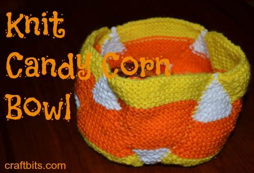 candy corn knit bowl