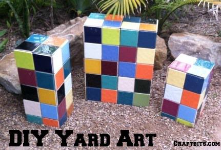 DIY Yard Art: Garden Mosaic Blocks