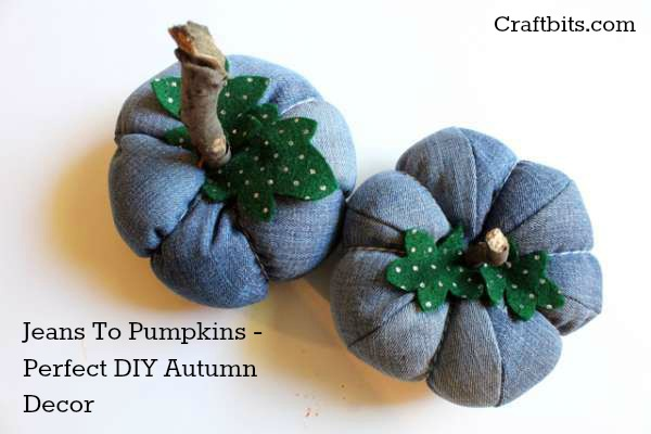 Recycled Blue Jeans Pumpkin DIY
