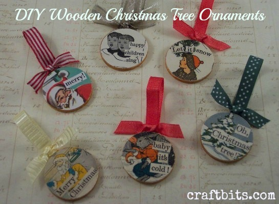 Decoupaged Wooden Christmas Ornaments \u2014 CraftBits.com