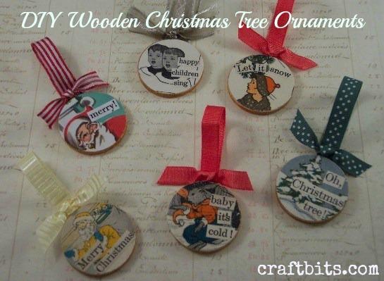 Decoupaged Wooden Christmas Ornaments \u2014 CraftBits.com