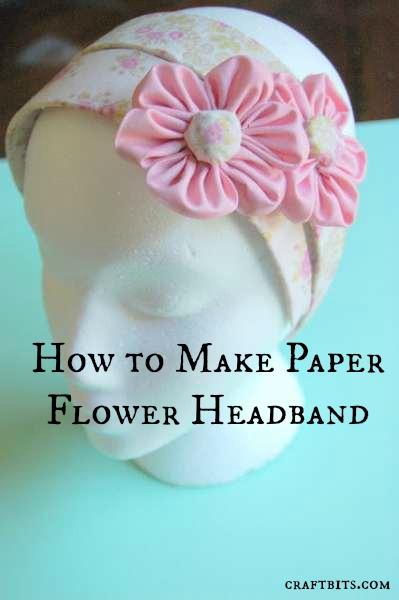Adhesive Fabric Paper Flowers Hairband
