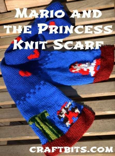 Mario and Princess Knit Scarf
