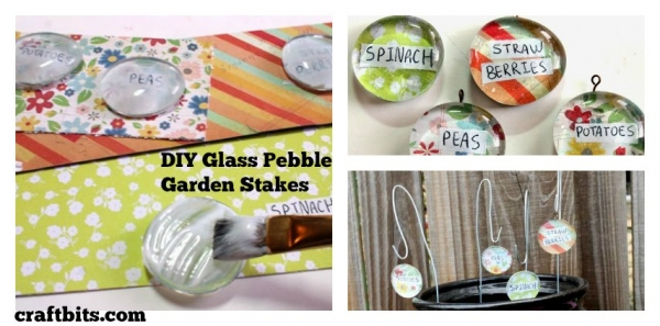 DIY Glass Pebble Plant Stakes