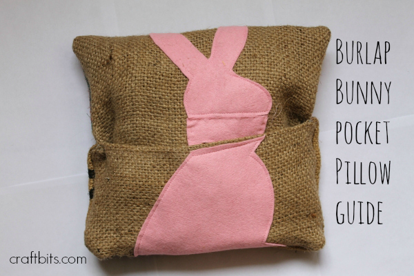 Burlap Bunny Pocket Pillow