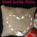 Heart of Ribbon Burlap Pillow