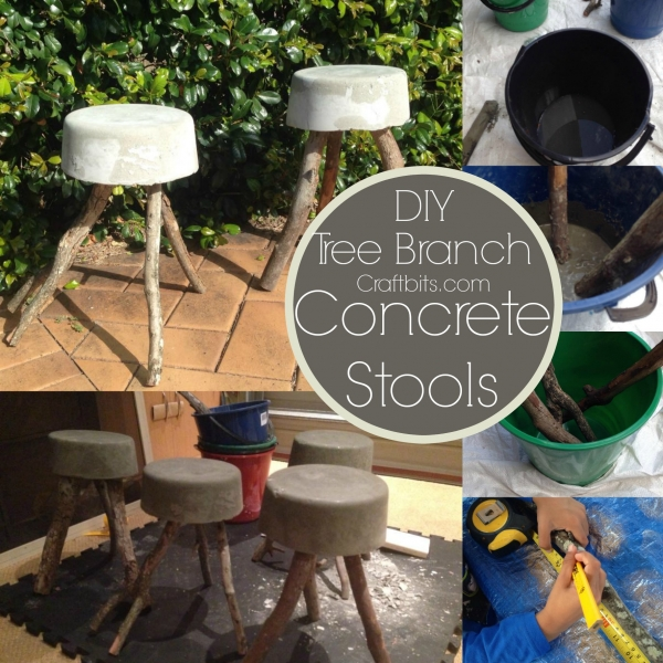 Concrete Tree Branch Bucket Stools