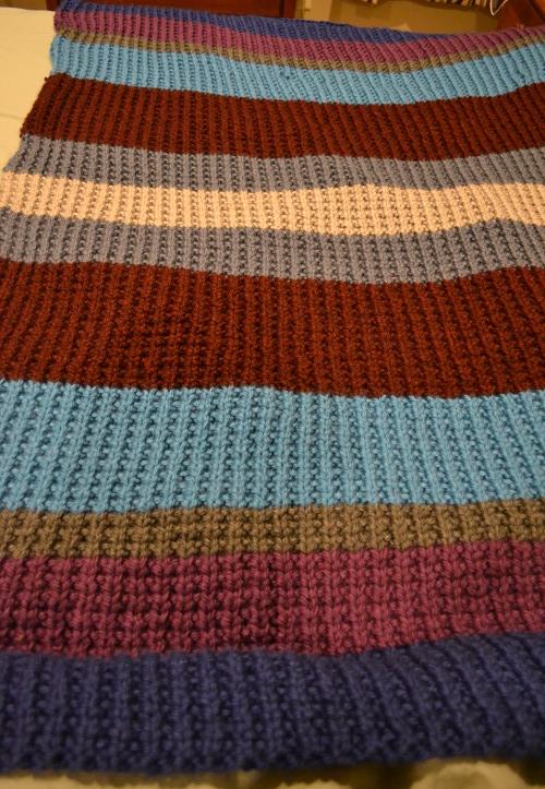 Big, Bulky Broken Rib Knit Blanket