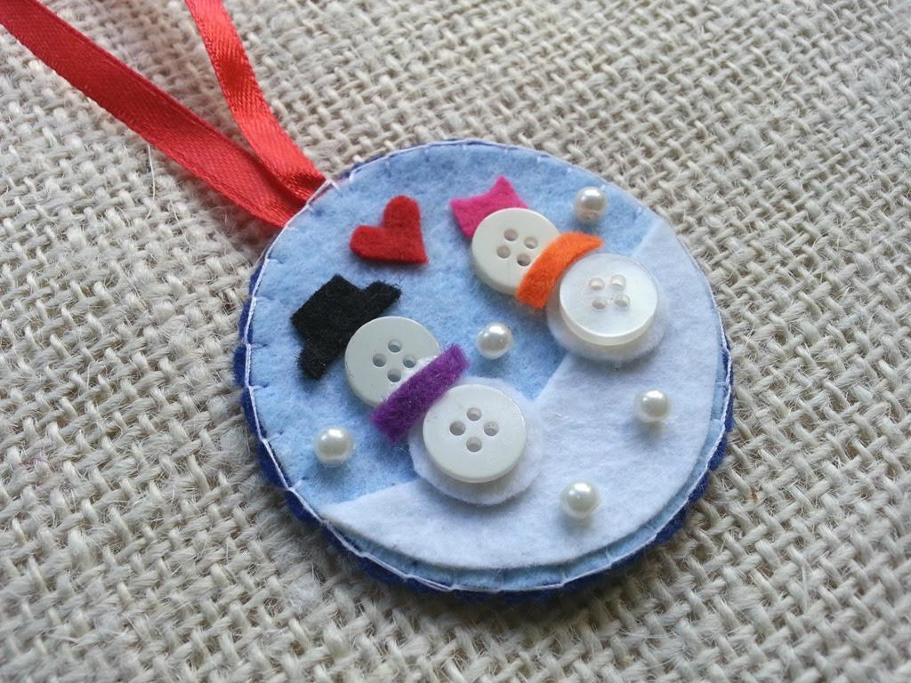 Tree Ornament – Button Snowman