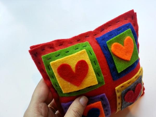 Colorful Felt Applique Valentine Pillow