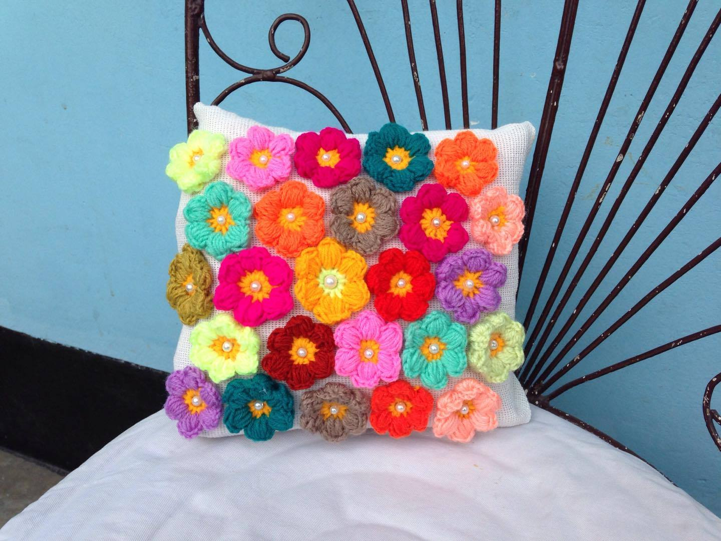 Crochet Puff Flower Pillow