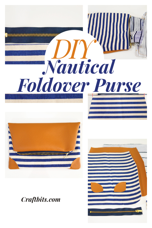 Nautical Foldover Clutch