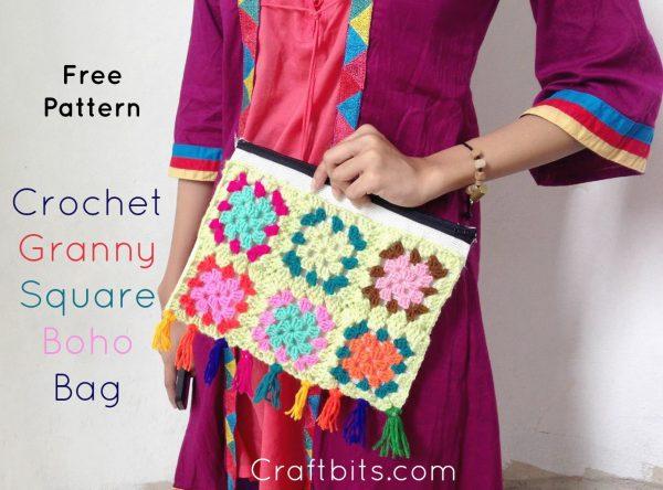 Colourful Granny Crochet Bag