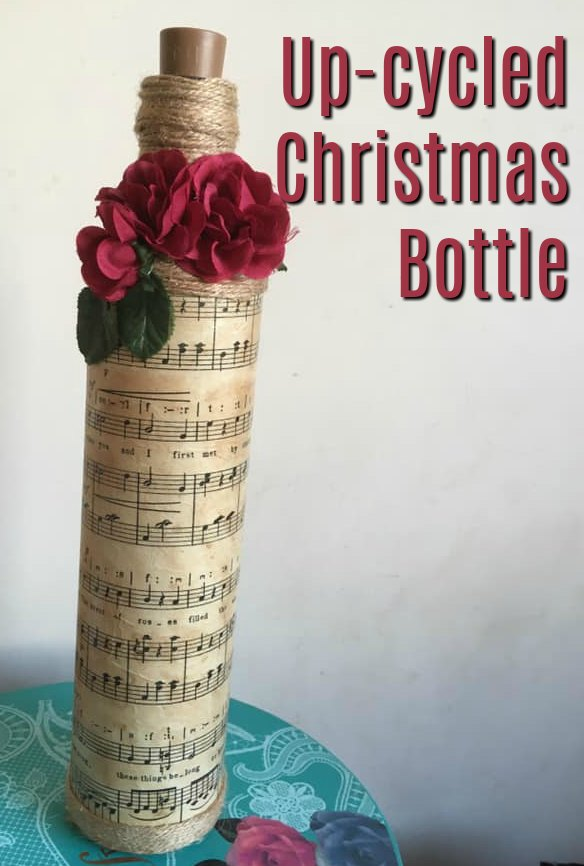 Up-cycled Bottle – Christmas Song Sheet Decoration