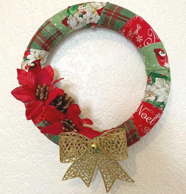 Fabric Wrapped Christmas Wreath