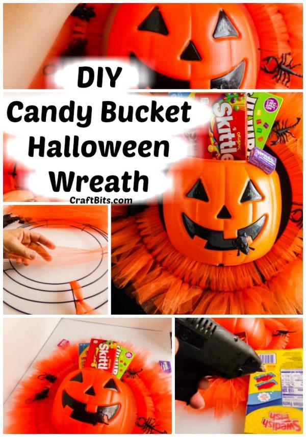 Dollar Tree Halloween Candy Bucket Wreath