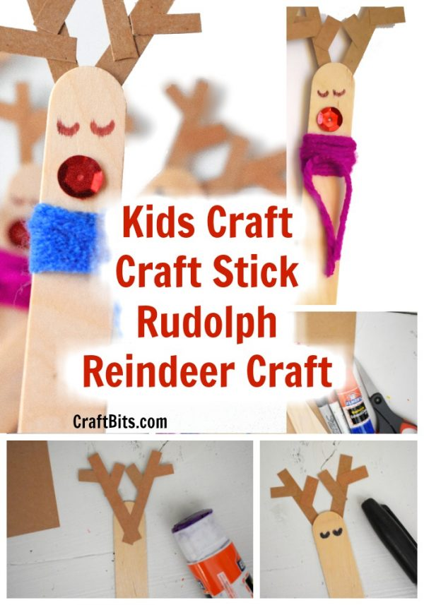 Kids Craft – Craft Stick Rudolph Christmas Reindeer