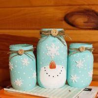 Christmas Snowman Mason Jars