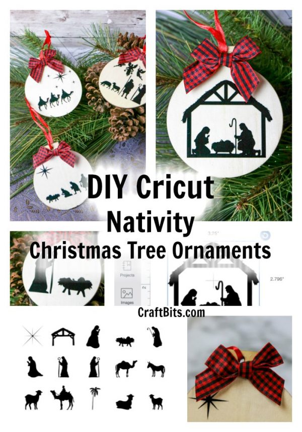 Rustic Natural Wood Nativity Christmas Cricut Tree Ornaments