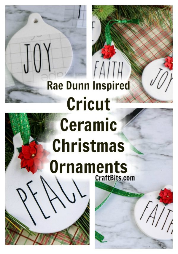 Rae Dunn Cricut Ceramic Christmas Ornaments